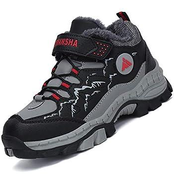 Mishansha Garçon Chaussure de Randonnée Chaud Chaussure de Marche Hiver pour Fille Bottes pour Trekking Confort Bottes d'escalade Extérieur Enfant Antidérapantes, Noir 31