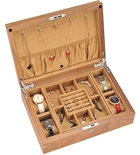 CHXISHOP - Caja de almacenamiento de joyas de madera maciza, caja de reloj de doble capa, caja de joyas con cerradura con caja de joyas extraíble Yellow