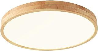 Luz de techo Lámpara de madera redonda de roble Dormitorio Lámpara de la vendimia Lámpara de techo Retro con LED Lámpara de habitación rústica Luz de cocina (Luz tricolor, 60 * 5cm 48W)