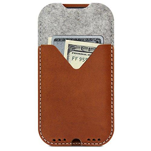 Pack und Smooch Für iPhone SE / 8/7 Wallet Hülle Hülle Kirkby Grau/Hellbraun 100prozent Merino Wollfilz Pflanzlich Gegerbtes Leder