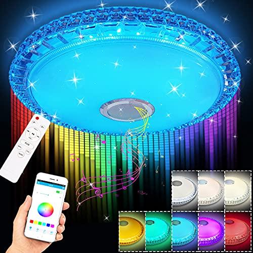 Lámpara LED de techo con altavoz Bluetooth, lámpara LED regulable de techo, mando a distancia o control de aplicación, luz de interruptor de temporizador, 60 W