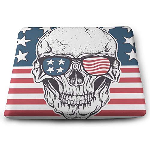 Funny Z American Skull in Sunglasses on USA Flag Almohadillas Antideslizantes de Espuma Elástica para Silla Cojín Cuadrado para Sofá de Oficina Hogar