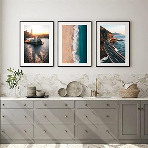 zuomo Die Sydney Icons Wandkunst Leinwanddrucke Australien Fotografie Sydney Opera House Bondi Beach Sea Cliff Bridge Wandposter 40x60CM ohne Rahmen