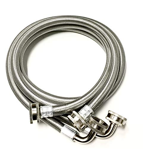 2-Pack Premium Stainless Steel Washing Machine Hoses - 4 FT No-Lead Burst Proof Inlet Supply Lines - 90 Degree Elbow Connection - 10 Year Warranty