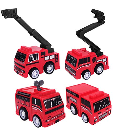 2 Inch Pull Back Firetruck Toy – Pack of 24 - Mini Firetruck Toys for Toddlers from Playko – 4 Truck Styles – Fire Engine Toys for Boys – Goodie Bag Toys for Kids Birthday – Carnival Prize for Kids
