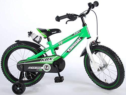 Kawasaki Kinderfahrrad Jungen 16 Zoll mit Vorradbremse am Lenker und Rücktrittbremse, Stützräder Grün 95% Zusammengebaut