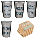 Stainless Steel River Life Sayings Pint Tumbler Glassware and Coaster Set - Life Is Better By The River, Whatever Happens At The River Stays The River