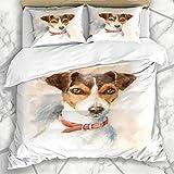 Conjuntos de fundas nórdicas Pintura artística Acuarela Perro Jack Russell Terrier Razas Cepillo Ropa de cama de microfibra doméstica Super King Size con 2 fundas de almohada Cuidado fácil Antialérgic