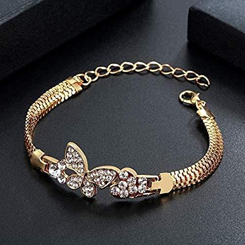 CCXXYANG Co.,ltd Collar Pulsera Y Brazalete De Mariposa Dorada para Mujer Pulseras De Piedra De Cristal Ajustable De Oro Joyería Regalo Femenino Pulseras Mujer