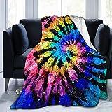 JAWANNAN Colorful Modern Rainbow Tie Dye Flannel Fleece Velvet Plush Throw Blanket Super Soft Bed Blanket Couch Sofa Blanket 50'X40'