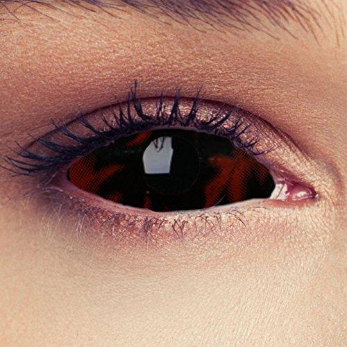 "Designlenses, Dos Sclera lentillas de color ardiente negro para Halloween 22mm bestia lentillas de seis meses sin dioprtías/corregir + gratis caso de lente ""Black Beast"""