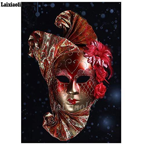 DIOPN diamant schilderij dames masker landschap mozaïek diamant afbeelding borduurwerk gepersonaliseerde strass decoratie (diamant rond 40 x 50 cm)