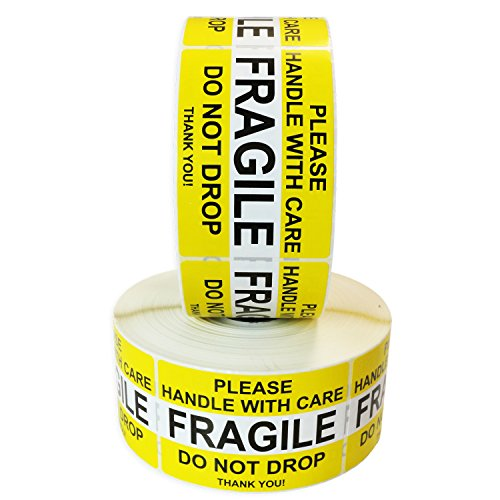 """Fragile Please Handle with Care Do Not Drop Label Stickers 2"""" x 3"""" 2000 Labels [2 Rolls x 1000] Waterproof, Bright Yellow by Milcoast"""