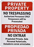 """Hypothesis 40x30cm 警告ポスター ブリキ 看板""""Private Property - No Trespassing"""" Bilingual Sign Black/Red on White"""