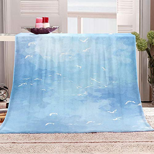 Blankets Blue Sky White Dove Super Soft Flannel Fleece Blanket Large Fluffy Warm Bed Sofa Throw for Bedroom, Couch, Travel, Kids, Bedroom, 130x150cm