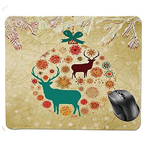BGLKCS rutschfeste Gummibasis Mousepad, Rentier und Schneeflocken in abstrakten Kugeln Ornament Vintage Papier Kunst Bild Mauspad