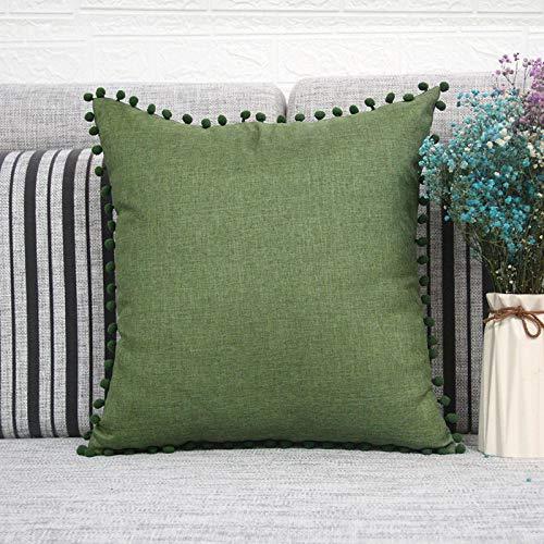 MONTANCHEZZ - Set di 2 federe per cuscino, 45 x 45 cm, colori caldi e solidi, stile moderno, imitazione lino, Throw Pillow Case (verde)