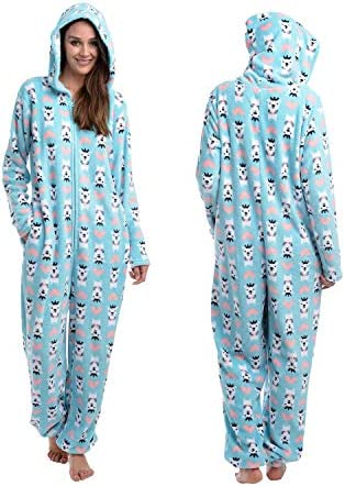 Body Candy Women s Cuddly Hooded Cute Printed Hoodie Plush Onesie Critters Blue Large product image