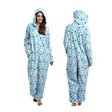 Body Candy Women's Cuddly Hooded Cute Printed Hoodie Plush Onesie Critters, Blue, Large
