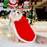 WeeH Dog Clothes for Christmas Cat Xmas Holiday Costume Red Christmas Cape Hooded Cloak Winter Outwear Medium