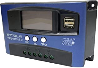 MPPT LADING BOARD Controller, Solar Charge Controller Dual USB LCD-display 12V 24V (blauw, 30a)