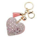 Ularma Strass Herz Schlüsselanhänger Schöne Mode Legierung Keychain Handtaschenanhänger Taschenanhänger (pink)