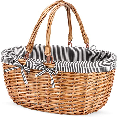 G GOOD GAIN Oval Picnic Basket with Folding Handles, Willow Hand Woven...
