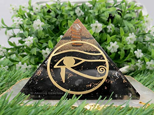 Pirámide de orgonita de Shungite para protección EMF y protección de energía negativa | Pirámide Organita de cristal natural (Oye of Horus)