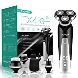 VOYOR Electric Razor for Men Wet and Dry Rotary Shaver Rechargeable Beard Trimmer Nose Hair Trimmer Sideburn Mustache Trimmers, 4 In 1 Hair Removal Set with Face Brush Cordless & IPX6 Waterproof TX410