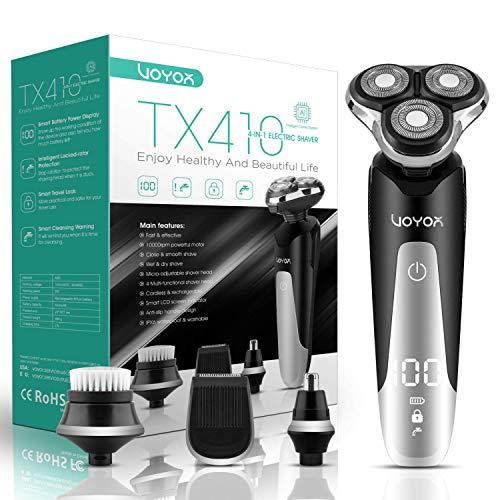 VOYOR Máquina de afeitar Afeitadora Eléctrica Recargable Para Hombres con Intercambiables de Afeitadora Rotativa,  Recortadora de Barba,  Juego de Afeitadora En Húmedo y Seco,  4 en 1,  IPX6 Impermeable