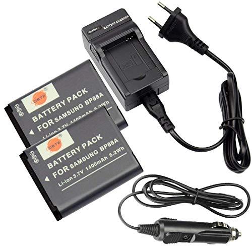 DSTE®(2 Pack) Ersatz Batterie und DC132E Reise Ladegerät Compatible für Samsung BP88A DV200 DV300 DV300F Digital Kamera als Samsung IA-BP88A