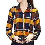 LIUYONG Blusa de túnica a cuadros para mujer, de manga corta, con botones, informal, holgada, suelta, para mujer