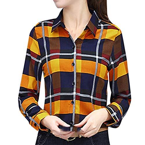 acction Blusas para Mujer, Camisa de Cuadros de Manga Larga a Juego Casual Color Femenino de Mujer Blusa Tops Blusas Mujer Elegante Tallas Grandes Camisetas
