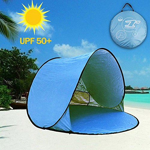 aigo Easy Set-up Beach Tent Automatic Pop Up Instant Beach Shade Portable Outdoors Portable Family Sun Shelter with Carry Case (for 2-3 Persons) Best Gifts for Holidays