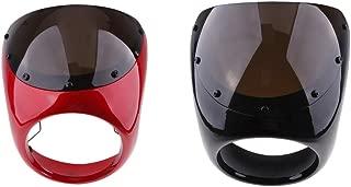 Gazechimp 2X 7 Inch Headlight Fairing Covers Front Head Light Cowl Headlamp Smoke Visor Shield for Cafe Racer Motorcycle Universal - Black&Red
