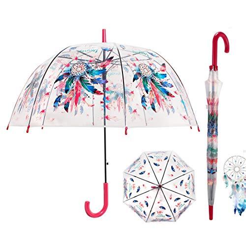 CARRYWOON Dream Catcher 40 inch Bubble Umbrella Clear Umbrellas Dome Windproof Auto Open Transparent...