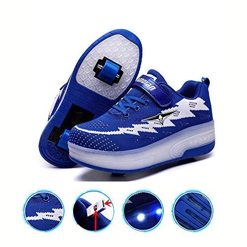 WXBYDX Kinder Skateboard Schuhe Kinderschuhe Mit Rollen LED Skate Rollen Schuhe USB Aufladbare Sportschuhe Laufschuhe Sneakers Mit 2 Räder Jungen Mädchen Unisex, Größe (29-41) Blue ~ double-29