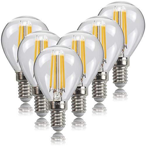 Bombillas de filamento LED E14 4W, bombilla de tornillo Samll Edison, 470Lm, equivalente a 40W, blanco cálido 2700K, mini bombilla de vidrio vintage, paquete de 6