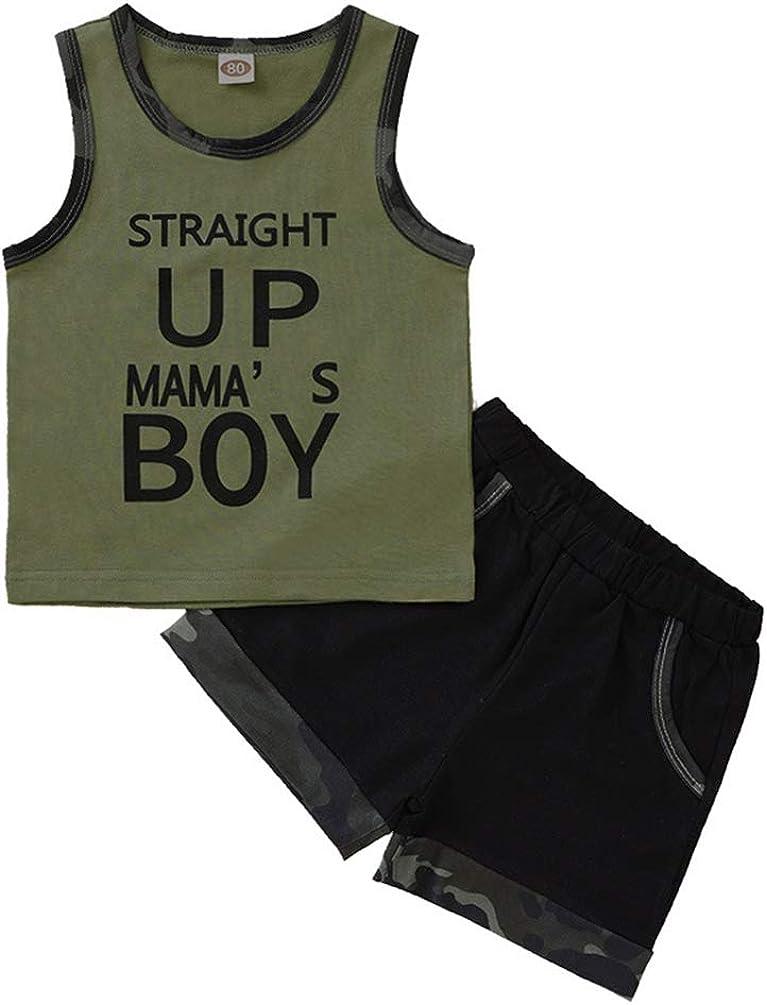 Amberetech 2pcs Newborn Baby Boys Camouflage Shorts Set Summer Sleeveless Tank Top+Army Green Shorts Summer Clothes Suit