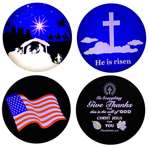 """Beffy Arts Christian Themed 4-in-1 Projector Featuring Bethlehem Nativity Scene for Christmas,""""Give Thanks"""" Bible Verse for Thanksgiving""""He is Risen"""" Holy Cross for Easter, Waving Flag for July 4th"""