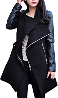 Fashion Winter Warm Women's Tops Zipper Leather Patchwork Long Jacket Coat