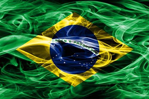 Etaia - 7x10 cm - Premium Auto Aufkleber Fahne Flagge von Brasilien Brazil Sticker fürs Auto Motorrad Roller Mofa