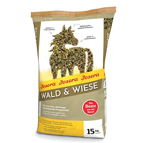JOSERA Wald & Wiese (1 x 15 kg) | Premium Pferdefutter - das atemwegsunterstützende Kräutermüsli| haferfrei |Stärke- & zuckerreduziert | 1er Pack