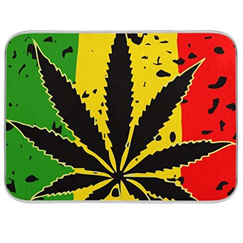 Alfombrilla de microfibra para secar platos, extra grande, súper absorbente, diseño de doble cara para cocina, color de hojas de cannabis de 18 x 24 pulgadas