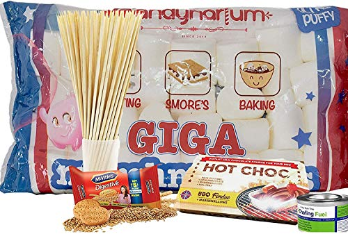 Candynarium Marshmallow Toasting Kit -Giga Marshmallow Smores kit - Complete Set with BBQ skewers Biscuits and Chocolates for That American Taste, You Need to Make Smores (350G Kit)