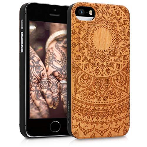 kwmobile Hülle kompatibel mit Apple iPhone SE (1.Gen 2016) / 5 / 5S - Handy Schutzhülle aus Holz - Cover Case Handyhülle Indische Sonne Dunkelbraun