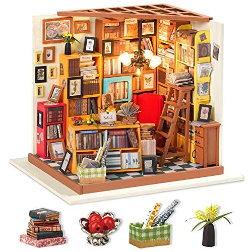Robotime Bibliothek Puppenhaus DIY Haus Holz - Bastelset Miniatur Haus Modell bausatz Geschenk für Erwachsene und Kinder
