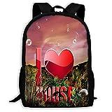 TRFashion Zaino Backpack Download I Love Music Zipper School Bookbag Daypack Travel Rucksack Gym Bag For Man Women