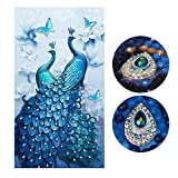 SWECOMZE 5d Diamant Painting Kit DIY Pfau Muster Handgemachtes Klebebild mit Digitale Sets Kreuzstich Wanddekoration (60 x 100 cm)