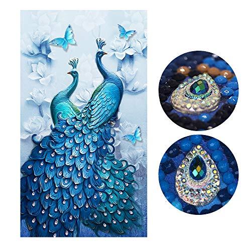 SWECOMZE Kit de pintura de diamante 5D, diseño de pavo real hecho a mano, con kits digitales, punto de cruz, decoración de pared (60*100 cm)
